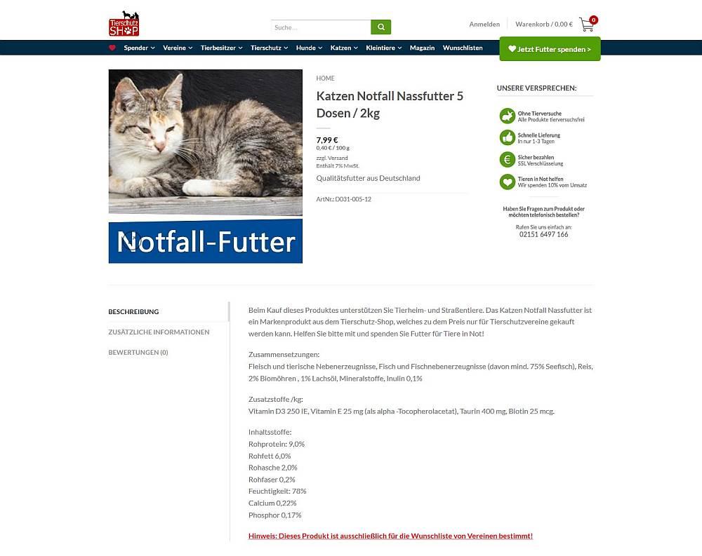 Screesnhot Notfall-Futter Tierschutz-Shop