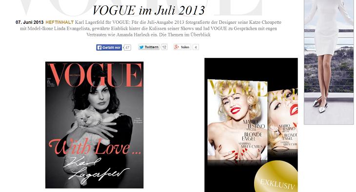 Vogue Titel mit Choupette