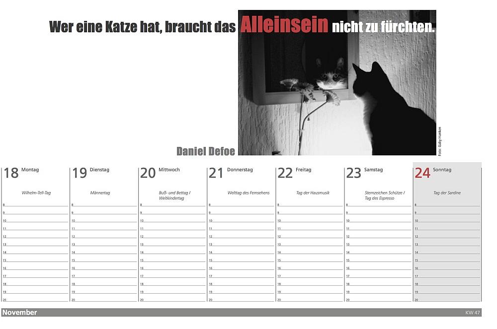 Der literarische Katzen Wochenplaner 2019 - Kalenderblatt